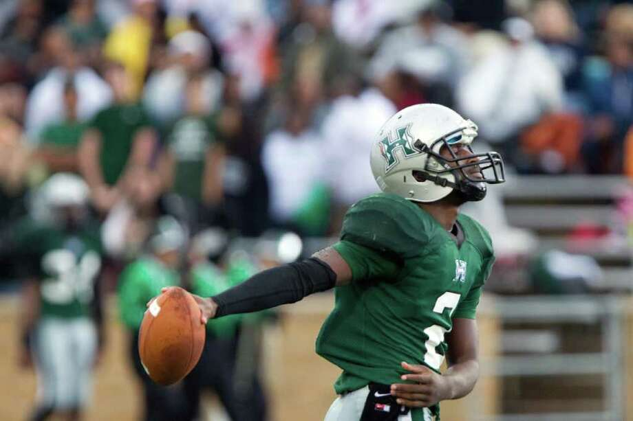 Hightower quarterback Bralon Addison (2) reacts after a penalty was called against the Hurricanes during the first half in Class 5A Div. I Region III semifinal high school playoff action against Cy-Fair at Tully Stadium, Saturday, Nov. 26, 2011, in Houston. Photo: Smiley N. Pool, Houston Chronicle / © 2011  Houston Chronicle