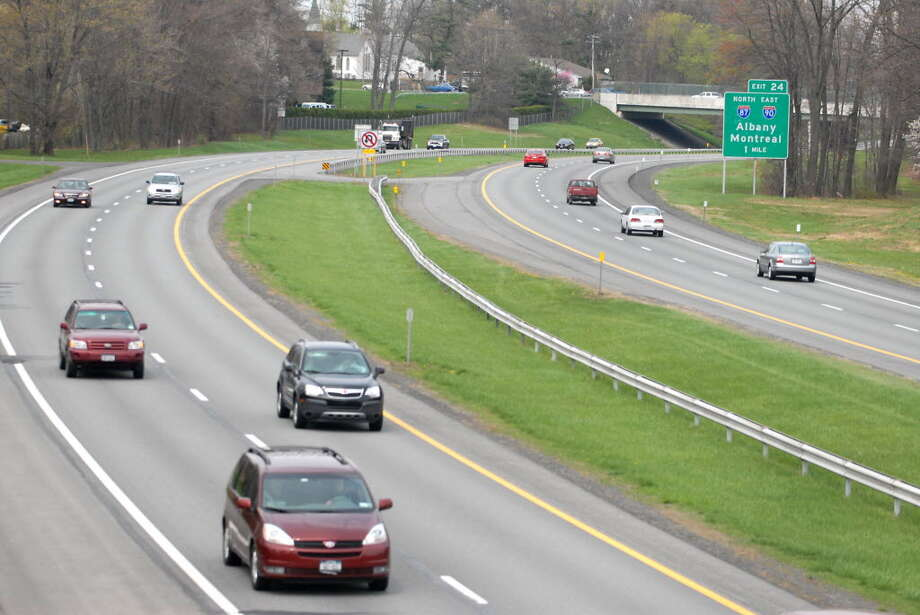 Three agencies will study the future of roads, rails, waterways, public transportation and other ways to travel along the 1-90 corridor running from the Albany to Buffalo areas. It includes the Thruway, seen here from the Schoolhouse Road bridge in Guilderland. (Times Union archive)