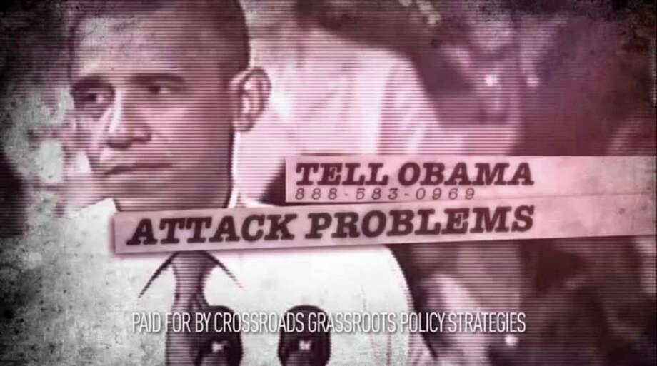 CROSSROADS GPS via NEW YORK TIMES GOING NEGATIVE: A political television ad by Crossroad GPS suggests that President Barack Obama's support for a tax increase on the wealthy incites class warfare. Photo: CROSSROAD GPS / CROSSROAD GPS