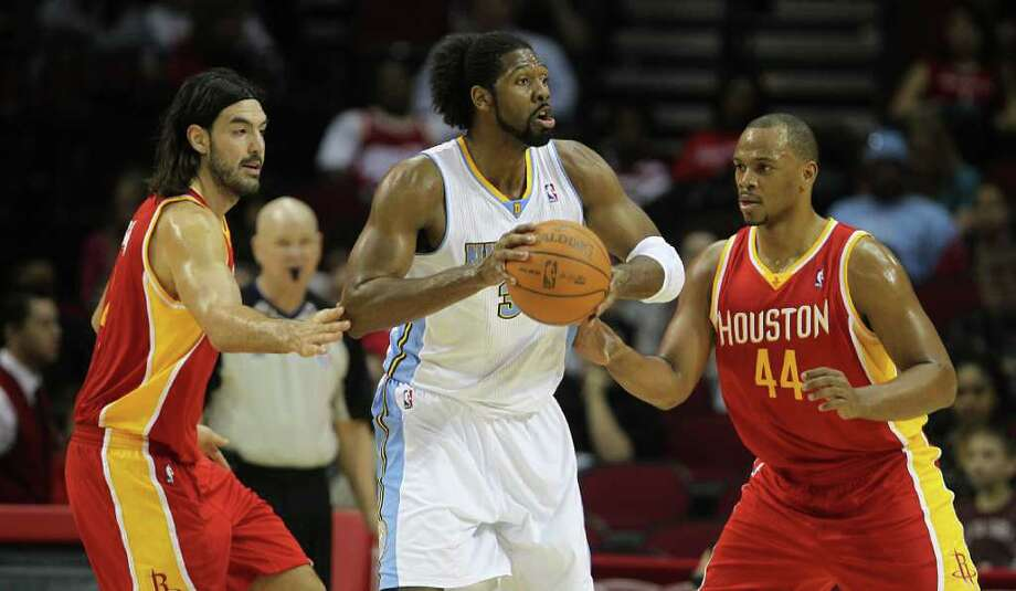 6-11 free-agent center Nene is the Rockets primary target in free agency. Photo: James Nielsen, Houston Chronicle / Houston Chronicle