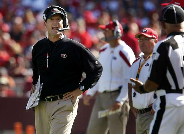 49er head coach Jim Harbaugh is not pleased with a penalty in the fourth quarter. San Francisco 49ers lose to the Dallas Cowboys in overtime 27-24 at Candlestick Park Sunday September 18, 2011. Photo: Brant Ward, The Chronicle