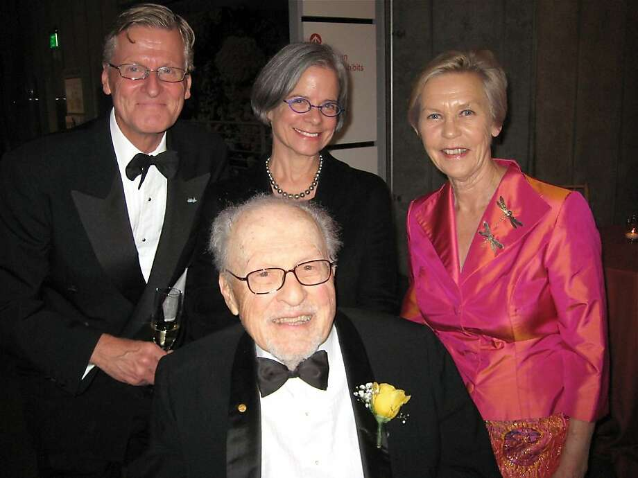 Nobel Laureate Donald Glaser (seated) with (from left) Swedish Ambassador Jonas Hafstrom, his wife Lynn Glaser and Swedish Consul General Barbro Osher at the California Academy of Sciences. Nov. 2011. By Catherine Bigelow. Photo: Catherine Bigelow, Special To The Chronicle