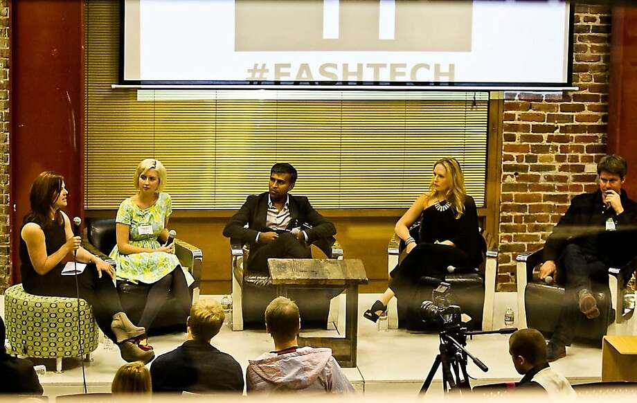 Lorraine Sanders (left)moderates a panel discussion for SF Fashion + Tech, a new group promoting networking and opportunities among the two worlds. Panelists included Modcloth co-founder Susan Gregg Koger. Google Shopping's Vineet Buch, iFabbo co-founder Sinead Norenius and Betabrand founder Chris Lindland. Photo: Christophe Tomatis