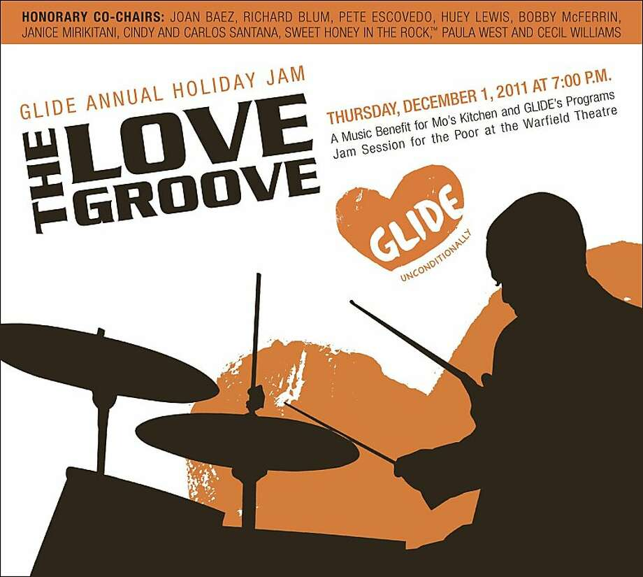 The Love Groove.  GLIDE Annual Holiday Jam. Thursday, Dec. 1, 2011 at 7:00 pm A music benefit for Mo's Kitchen and GLIDE's Programs Jam Session for the Poor at the Warfield Theatre Photo: Mo's Kitchen And GLIDE