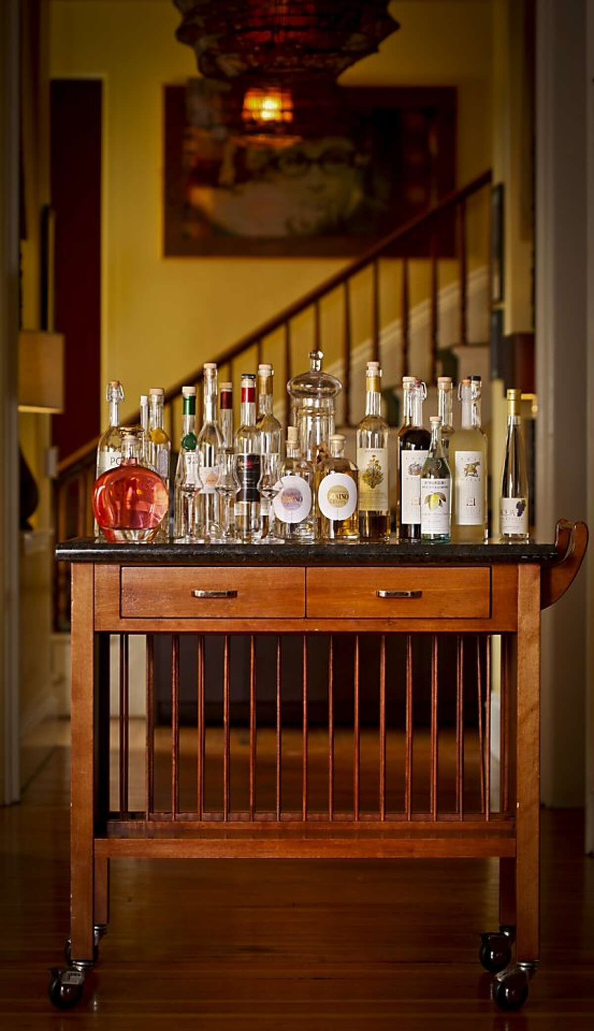 The grappa cart at Estate in Sonoma, Calif., is seen on Monday, Oct. 24, 2011.
