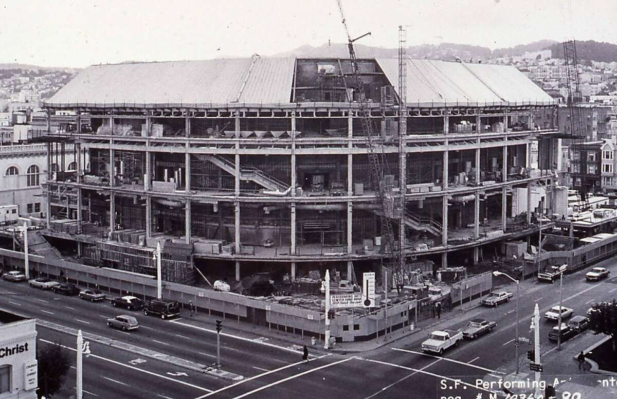 Davies Symphony Hall during preliminary construction. Summer, 1980. Prospective run date: September 13th 1980: The first concert ever played in Davies. Run in dual celebration with the concert hall's 31st birthday and the symphony's 100th!
