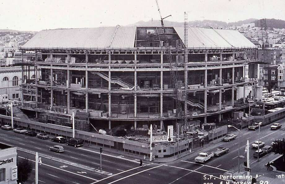 Davies Symphony Hall during preliminary construction. Summer, 1980.  Prospective run date: September 13th 1980: The first concert ever played in Davies. Run in dual celebration with the concert hall's 31st birthday and the symphony's 100th! Photo: S.F. Symphony