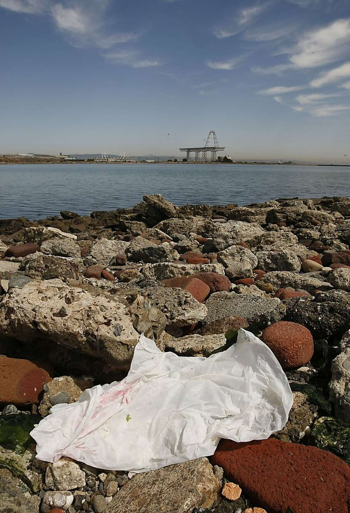 Trash along the Candlestick Point shoreline in San Francisco, Calif., on Friday September 11, 2009. A recent report by environmental group,