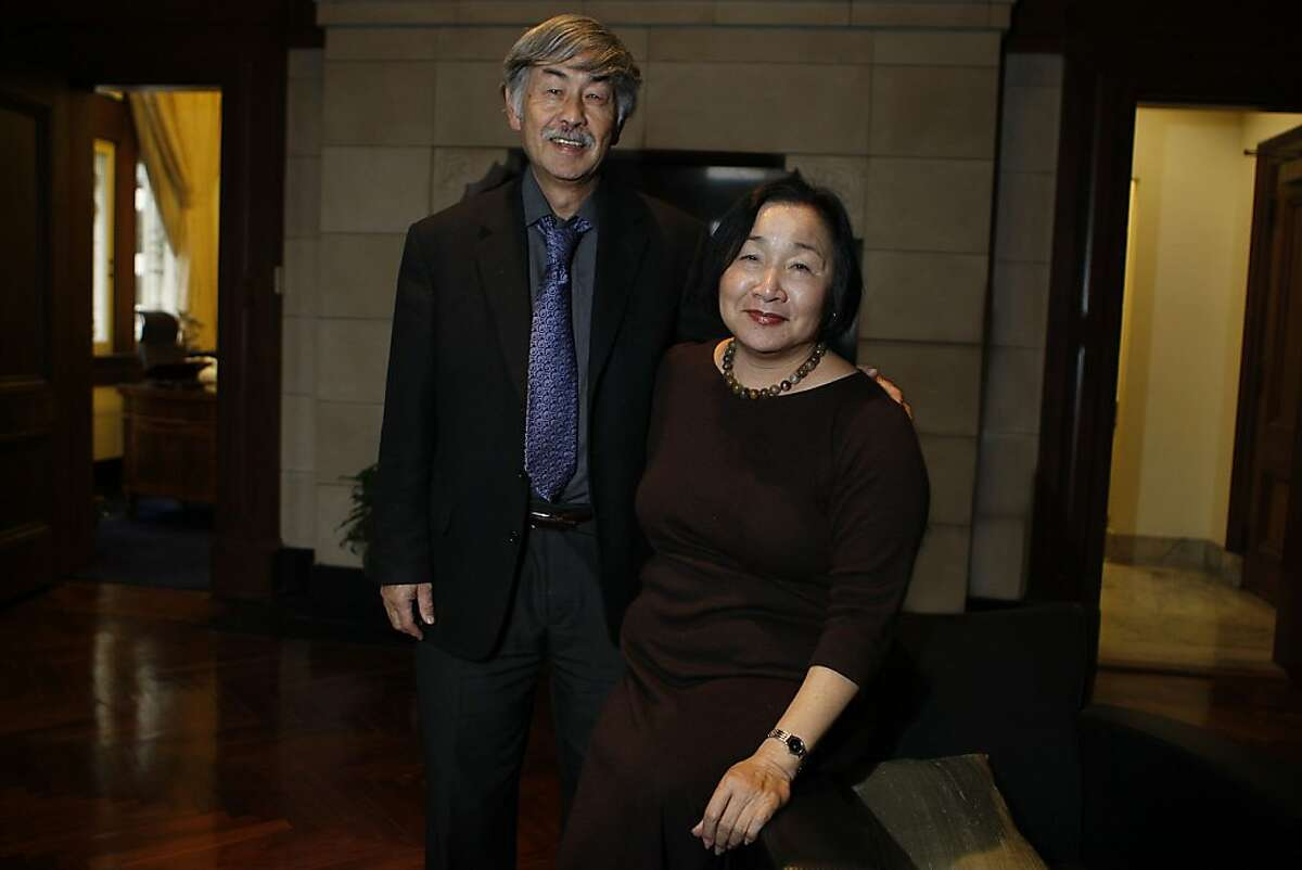 Oakland's new mayor Jean Quan and her husband Floyd Huen at the mayor's office in Oakland, Calif., on Wednesday, December 29, 2010. Ran on: 01-02-2011 Oakland Mayor-elect Jean Quan, with husband Floyd Huen, plans to continue her community organizing in her new role.