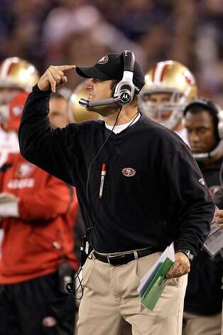 BALTIMORE, MD - NOVEMBER 24:  Head coach Jim Harbaugh of the San Francisco 49ers reacts during their game against the Baltimore Ravens at M&T Bank Stadium on November 24, 2011 in Baltimore, Maryland.  (Photo by Rob Carr/Getty Images) Photo: Rob Carr, Getty Images