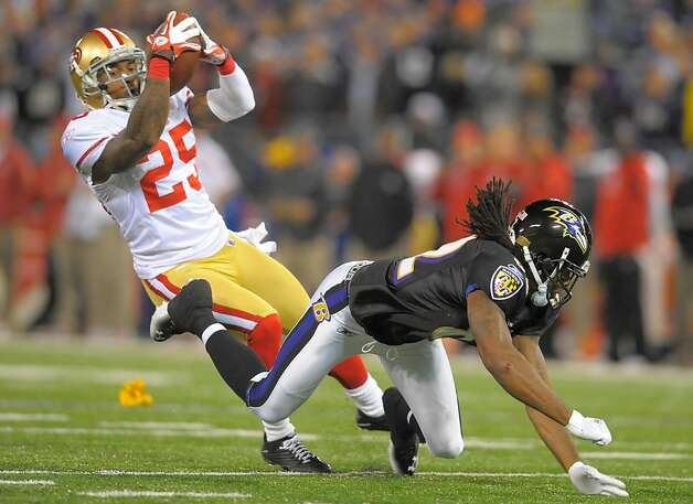San Francisco 49ers cornerback Tarell Brown has an apparent interception taken away as he's called for pass interference on Baltimore Ravens wide receiver Torrey Smith in the first half of their game on Thursday, November 24, 2011, in Baltimore, Maryland. (Doug Kapustin/MCT) Photo: Doug Kapustin, MCT