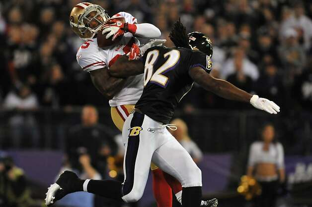 BALTIMORE - NOVEMBER 24:  Tarell Brown #25 of the San Francisco 49ers intercepts a pass but was called for interference on this play against the Baltimore Ravens at M&T Bank Stadium on November 24. 2011 in Baltimore, Maryland.  (Photo by Larry French/Getty Images) Photo: Larry French, Getty Images