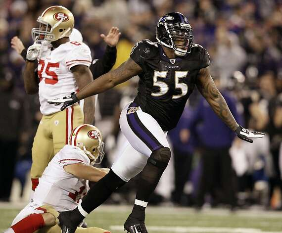 Baltimore Ravens outside linebacker Terrell Suggs (55) reacts after sacking San Francisco 49ers quarterback Alex Smith, bottom left, during the second half of an NFL football game in Baltimore on Thursday, Nov. 24, 2011. Baltimore won 16-6. (AP Photo/Patrick Semansky) Photo: Patrick Semansky, AP