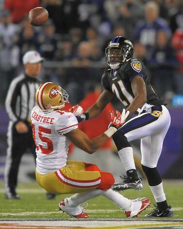 Baltimore Ravens cornerback Lardarius Webb breaks up a pass intended for San Francisco 49ers wide receiver Michael Crabtree in the second half of their game on Thursday, November 24, 2011, in Baltimore, Maryland. The Ravens come away with a 16-6 win over the 49ers.  (Doug Kapustin/MCT) Photo: Doug Kapustin, MCT