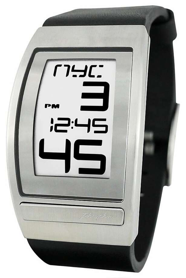 Curved E-Ink Digital Worldtime watch by Phosphor. Polyurethane, leather and metal bands. $150-$195. Photo: Phosphor