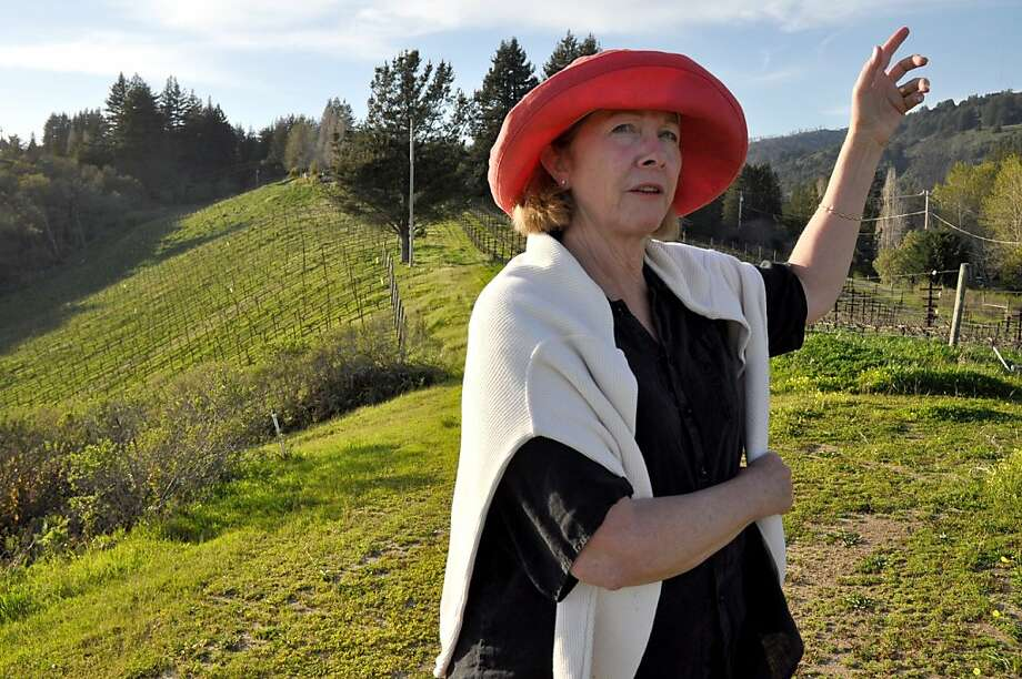 Judy Schultze of Windy Oaks Estate is fond of leading guests on a hike through the family vineyards to gawk at the view from a high ridge.   Santa Cruz County --  Judy Schultze of Windy Oaks Estate is fond of leading guests on a hike through the family vineyards to gawk at the view from a high ridge.  Christine Delsol / Special to The Chronicle  ONE-TIME USE; CONTACT PHOTOGRAPHER FOR REUSE Photo: Christine Delsol, Special To The Chronicle