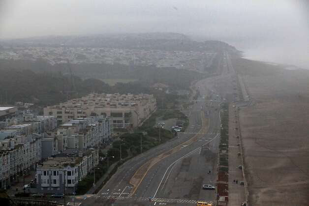 A view of Ocean Beach and down the Great Highway is seen from Sutro Heights Park on Friday, November 25, 2011 in San Francisco, Calif. Photo: Lea Suzuki, The Chronicle