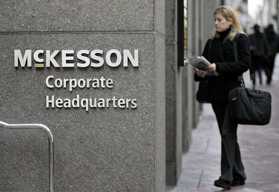 A woman walks into McKesson Corporation's headquarters in San Francisco, Thursday, Jan. 31, 2008.  McKesson is expected to release quarterly earnings after the market closes.  (AP Photo/Paul Sakuma) Ran on: 02-01-2008 McKesson Corp. of San Francisco said legal and acquisition costs contributed to a 17 percent drop in third-quarter profits.  Ran on: 08-26-2010 McKesson Corp., the largest drug distributor, is among several firms expanding beyond their core business to help insurers cope with the health overhaul.  Ran on: 11-02-2010 San Francisco's McKesson expects the deal to be &quo;modestly beneficial&quo; to earnings in the next year. Ran on: 11-02-2010 San Francisco's McKesson expects the deal to be &quo;modestly beneficial&quo; to earnings in the next year.   Ran on: 06-07-2011 S.F.'s McKesson Corp. and Hearst Corp. are being sued by Michigan's Medicaid program. Photo: Paul Sakuma, AP