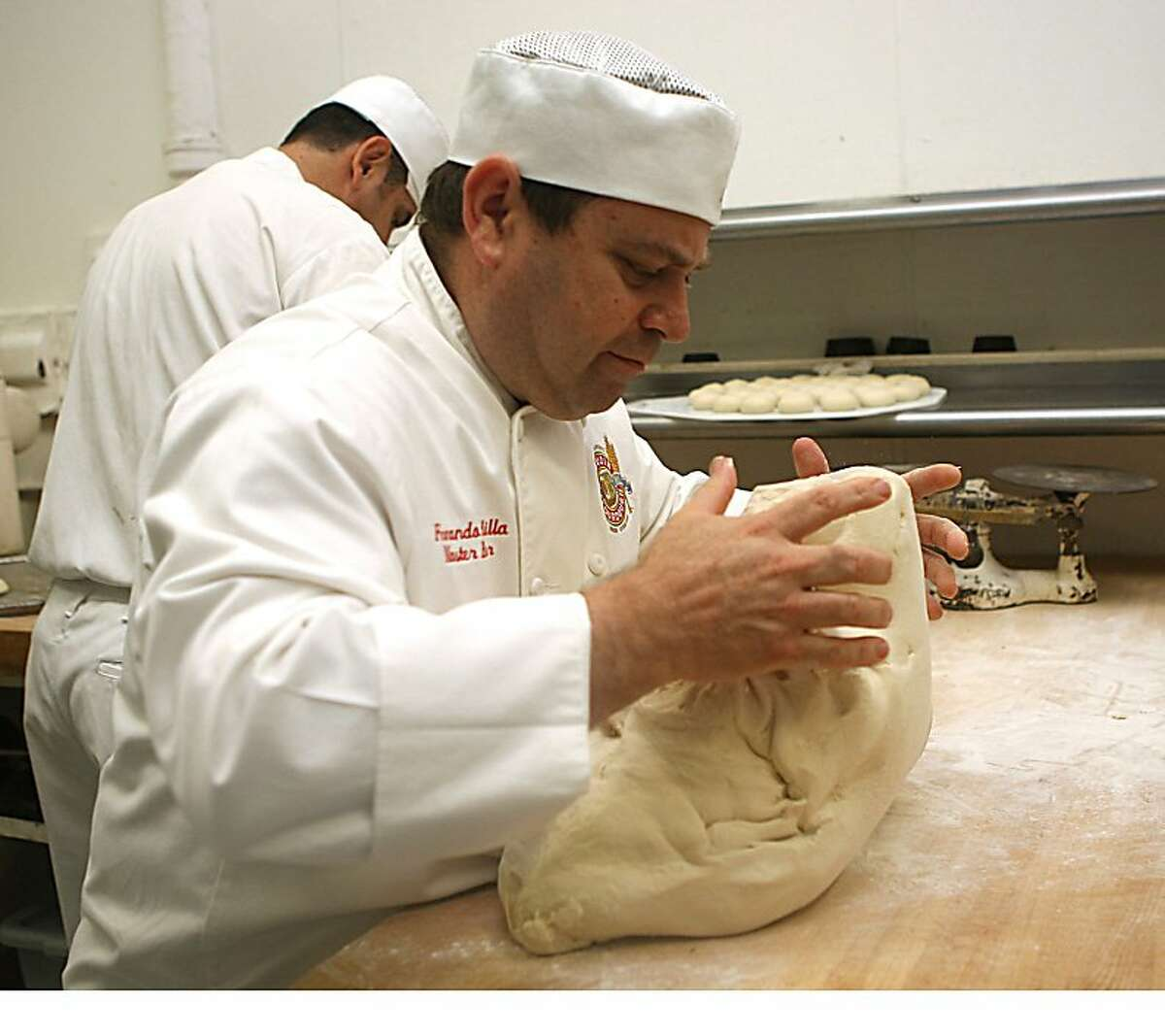 Master baker Fernando Padilla working on some dough at Boudin Bakery on 10th Ave. in San Francisco, California, on Wednesday, September 14, 2011. Fernando apprenticed with former Boudin owner