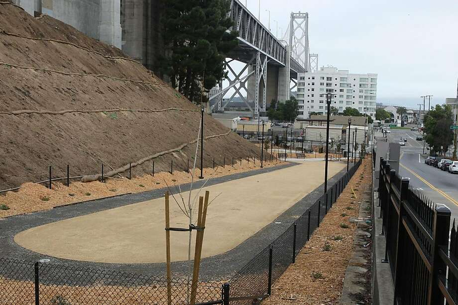 A new dog run/park at the foot of Bay Bridge on the northwest corner of Bryant and Beale streets in San Francisco, Calif., on Friday, November 25, 2011. It will be open to the public by mid December. Photo: Liz Hafalia, The Chronicle