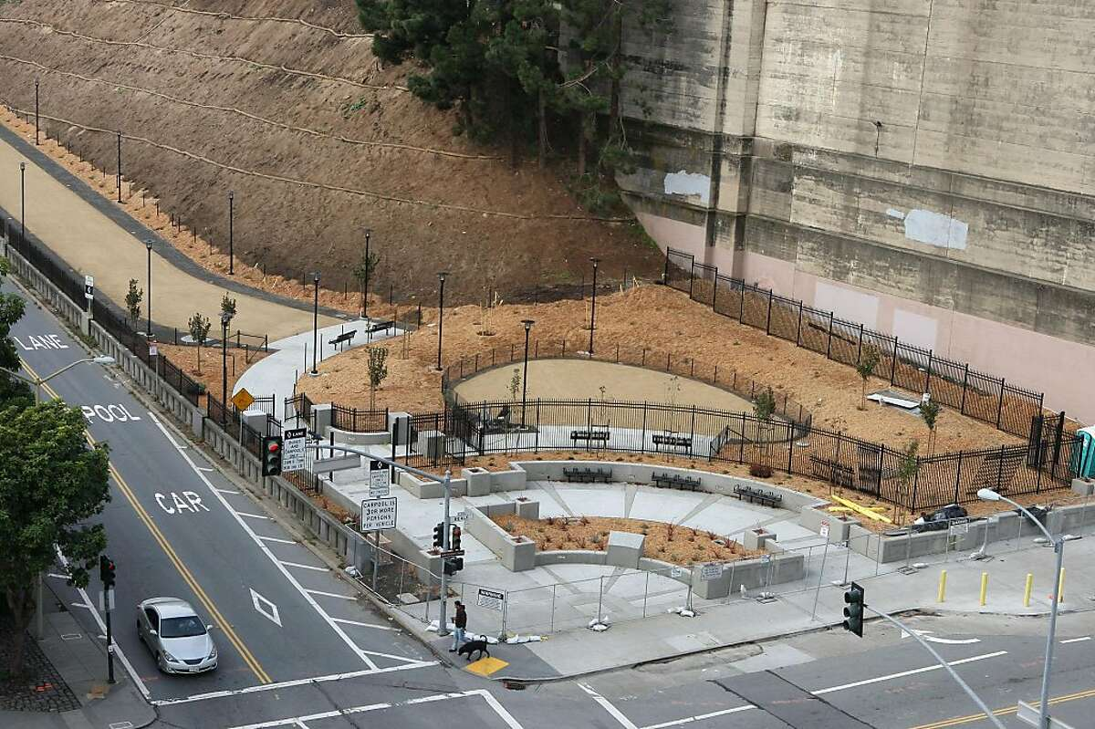 A new dog run/park at the foot of Bay Bridge on the northwest corner of Bryant and Beale streets in San Francisco, Calif., on Friday, November 25, 2011. It will be open to the public by mid December.