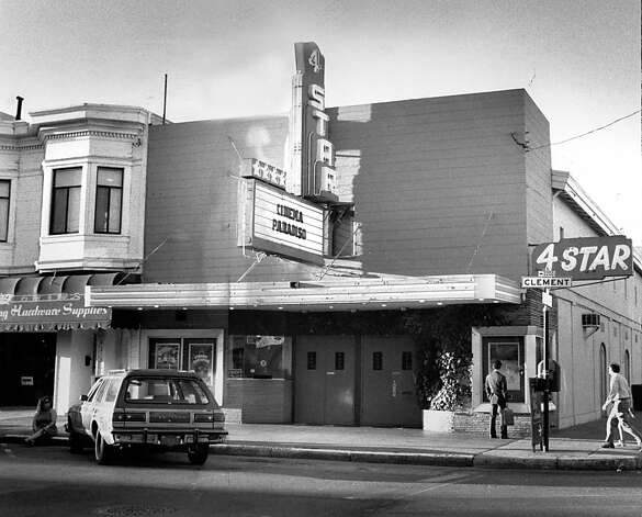 The 4-Star Theater on Clement Street in San Francisco has staved off threats of closure. Oct. 3, 1990. Photo: John O'Hara, The Chronicle