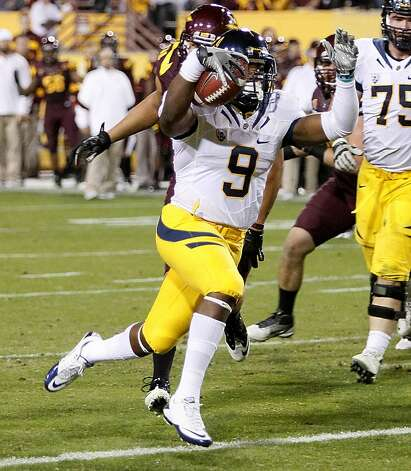 California running back C.J. Anderson (9) scores a touchdown against Arizona State during the second half of an NCAA college football game Friday, Nov. 25, 2011, in Temp, Ariz. (AP Photo/Matt York) Photo: Matt York, AP