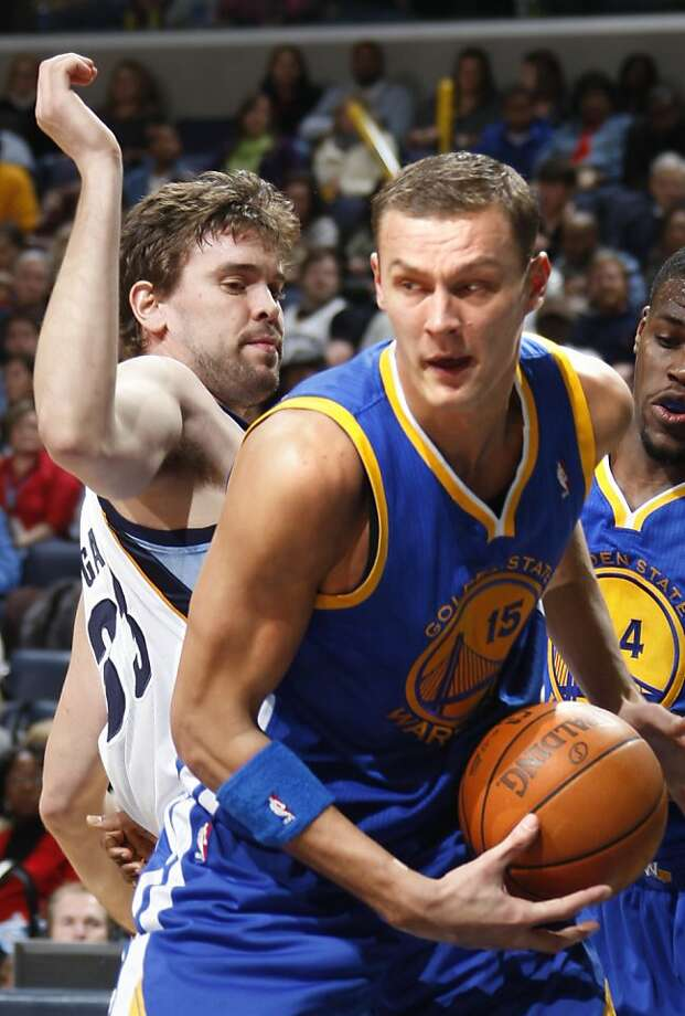 Golden State Warriors center Andrins Biedrins (15), of Latvia, works around the defense of Memphis Grizzlies center Marc Gasol, right, of Spain, in the second half of an  NBA game Friday, Nov. 26, 2010, in Memphis, Tenn.  The Grizzlies defeated the Warriors 116-111. Biedrins led the scoring for the Warriors with 28 points.  (AP Photo/Nikki Boertman)  Ran on: 11-27-2010 Andris Biedrins had a career night with 28 points and 21 rebounds.  Ran on: 02-23-2011 Andris Biedrins averaged a double-double in 2008-09, but has stumbled since then.  Ran on: 04-30-2011 Andris Biedrins has regressed since 2009. Ran on: 04-30-2011 Andris Biedrins has regressed since 2009. Photo: Nikki Boertman, AP