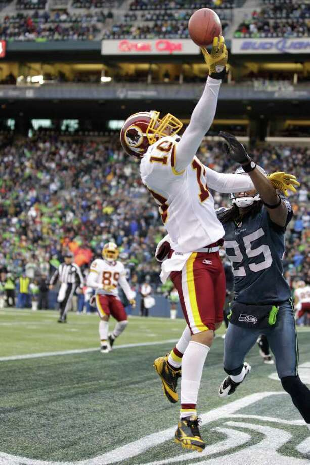 Seattle Seahawks Richard Sherman, right, breaks up a pass intended for Washington Redskins Jabar Gaffney in the end zone in the first half of an NFL football game, Sunday, Nov. 27, 2011, in Seattle. Photo: AP