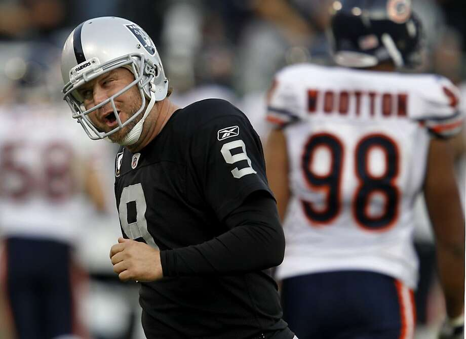 Shane Lechler celebrated an 80 yard punt in the fourth quarter. The Oakland Raiders defeated the Chicago Bears 25-20 at O.co Coliseum Sunday November 27, 2011. Photo: Brant Ward, The Chronicle