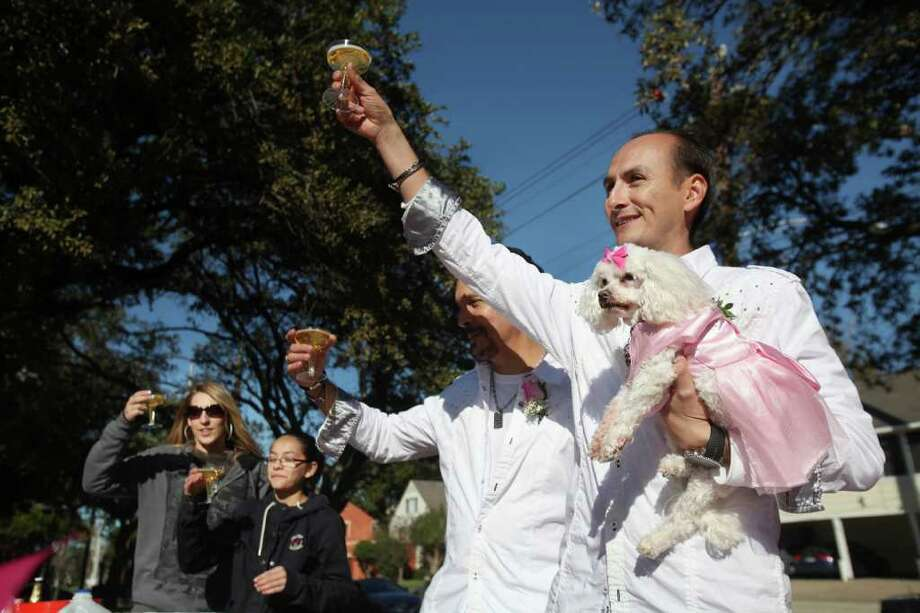 "MAYRA BELTRÁN PHOTOS : CHRONICLE PRETTY IN PINK: Jerry Gardsbane, center, and Alex Cuevas, right, toast their pet Pumpkin during a quinceañera celebration Sunday for their 15-year-old Maltese at Ervan Chew Park. ""We felt lucky to have her this long so we wanted to celebrate,"" Cuevas said Photo: Mayra Beltran / © 2011 Houston Chronicle"