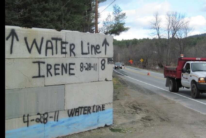 Sign shows the depth of water in Jay, N.Y., after Tropical Irene Storm Irene swept through on Aug. 28, 2011. (Rick Karlin/Times Union)