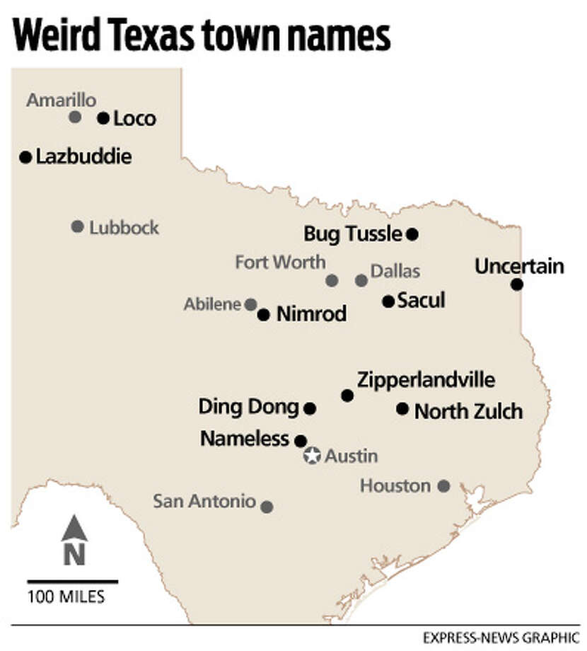 Strange Names Dot Texas Map San Antonio ExpressNews - Texas towns map
