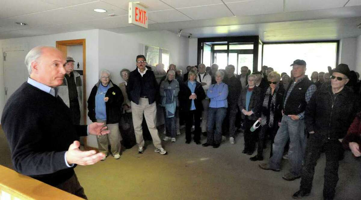 Ridgefield First Selectman Rudy Marconi speaks to residents at the start of a tour of the 45-acre Schlumberger-Doll Research Center Saturday, Nov. 26, 2011. The town will have a referendum Dec. 6 on whether to buy the property for $7 million.