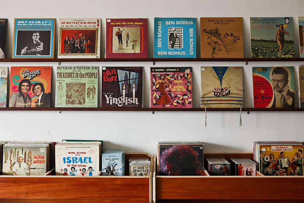 Records are seen in Tikva Records on Friday, Nov. 18, 2011 in San Francisco, Calif. The store will be the world's first pop-up Jewish record store and is scheduled to open on December 1. Ran on: 11-29-2011 Above, LPs line the shelves of the pop-up Tikva Records store, the brainchild of David Katznelson, right.