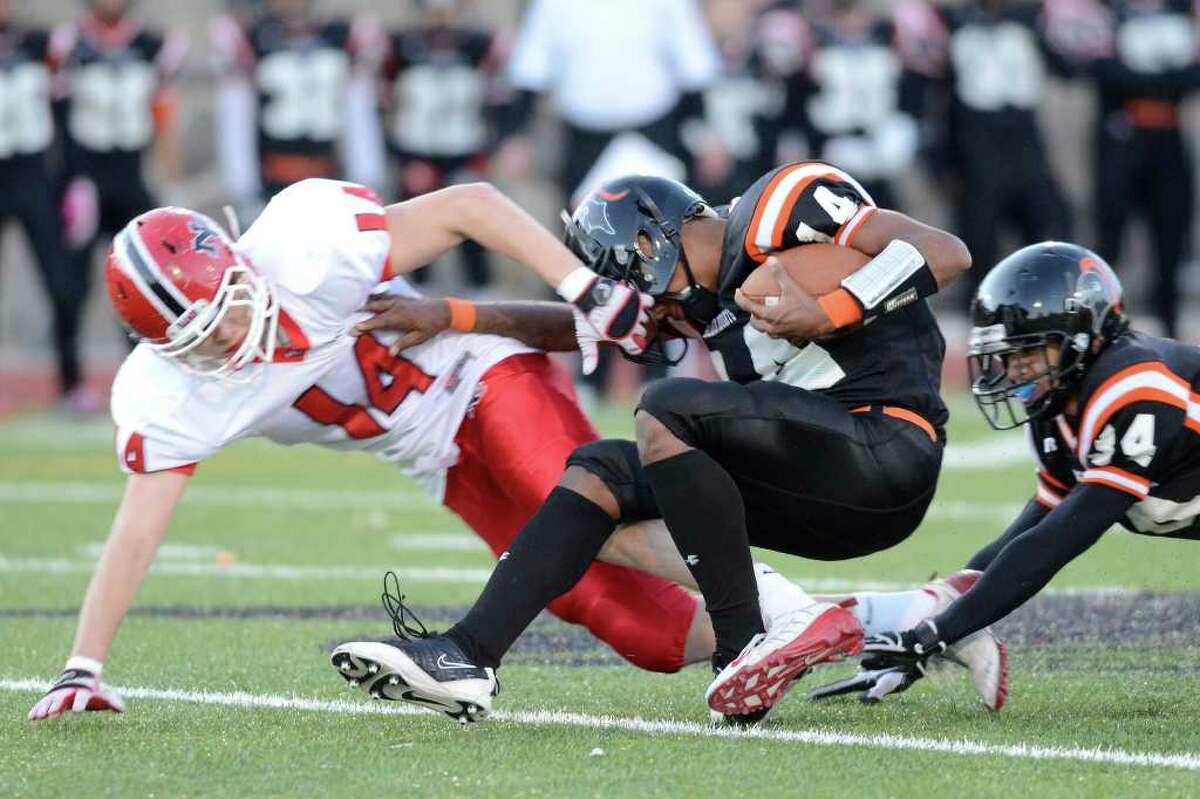 Stamford High School bests New Canaan High School 36 - 29 in varsity football in Stamford, CT on Sat., Nov. 5, 2011.