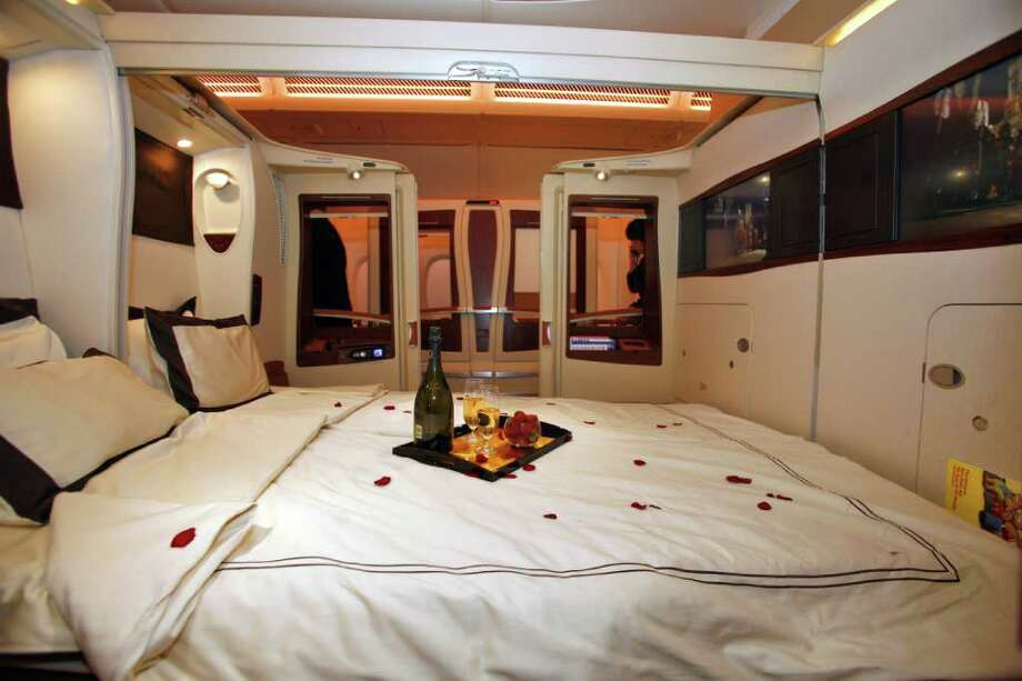 TOULOUSE, FRANCE - OCTOBER 15:  A general view of inside the first class twin cabin section of the new Singapre Airlines Airbus A380 on October 15, 2007 in Toulouse, France. The first A380, the world's biggest passenger jet, is set to enter commercial service when delivered to Singapore Airlines' fleet, following a troubled production and an 18 month delay. Photo: Pascal Parrot, Getty Images / 2007 Getty Images