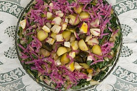 Root vegetable dish from produce farmed at Full Belly Farm in Guinda,  CA.   Ran on: 11-13-2011 Photo caption Dummy text goes here. Dummy text goes here. Dummy text goes here. Dummy text goes here. Dummy text goes here. Dummy text goes here. Dummy text goes here. Dummy text goes here.<137,1970-12-18-17-21-52,><252>###Photo: thanksgiving_13_jp4<252>1310774400<252>SFC<252>###Live Caption:Roasted Seasonal Root Crops with Sauteed Greens,  from produce farmed at Full Belly Farm in Guinda, CA.###Caption History:Root vegetable dish from produce farmed at Full Belly Farm in Guinda,  CA.###Notes:###Special Instructions:MANDATORY CREDIT FOR PHOTOGRAPHER AND SAN FRANCISCO CHRONICLE-NO SALES-MAGS OUT<137><252>