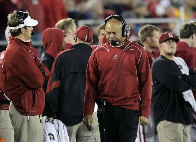 Stanford head coach David Shaw paces the sidelines late in the game, as the Stanford Cardinal go on to lose to the  Oregon Ducks 53-30 at Stanford Stadium, on Saturday November 12, 2011 in Palo Alto, Ca. Photo: Michael Macor, The Chronicle