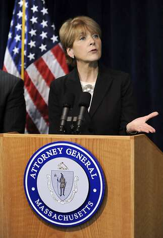 Massachusetts State Attorney General Martha Coakley speaks to members of the media, Wednesday, July 8, 2009 in Boston about a lawsuit filed Wednesday that says that the federal Defense of Marriage Act interferes with the right of Massachusetts to define marriage as it sees fit. (AP Photo/Lisa Poole) Ran on: 07-09-2009 Attorney General Martha Coakley announces the lawsuit. Ran on: 07-09-2009 Attorney General Martha Coakley announces the lawsuit. Photo: Lisa Poole, AP