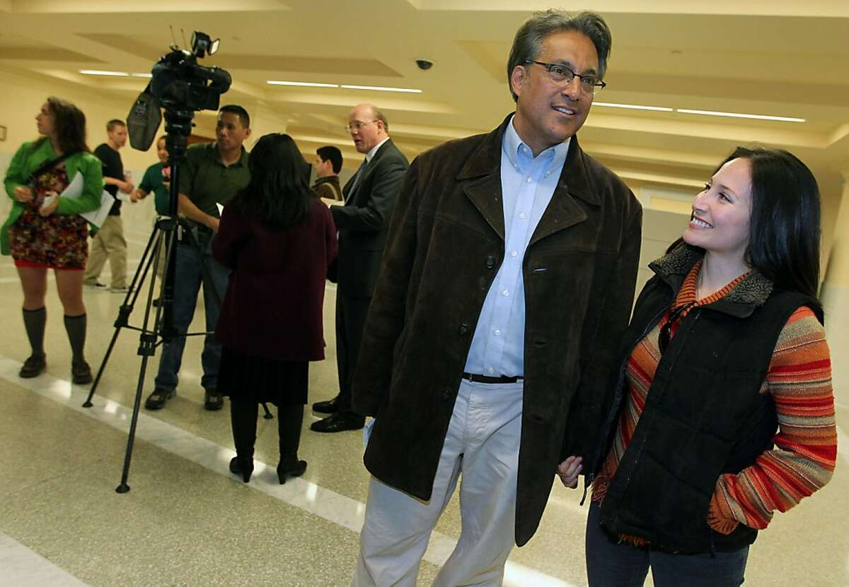 San Francisco's new elected Sheriff Ross Mirkarimi held a press conference with his wife Eliana Lopez at City Hall after being declared the winner Thursday November 10, 2011