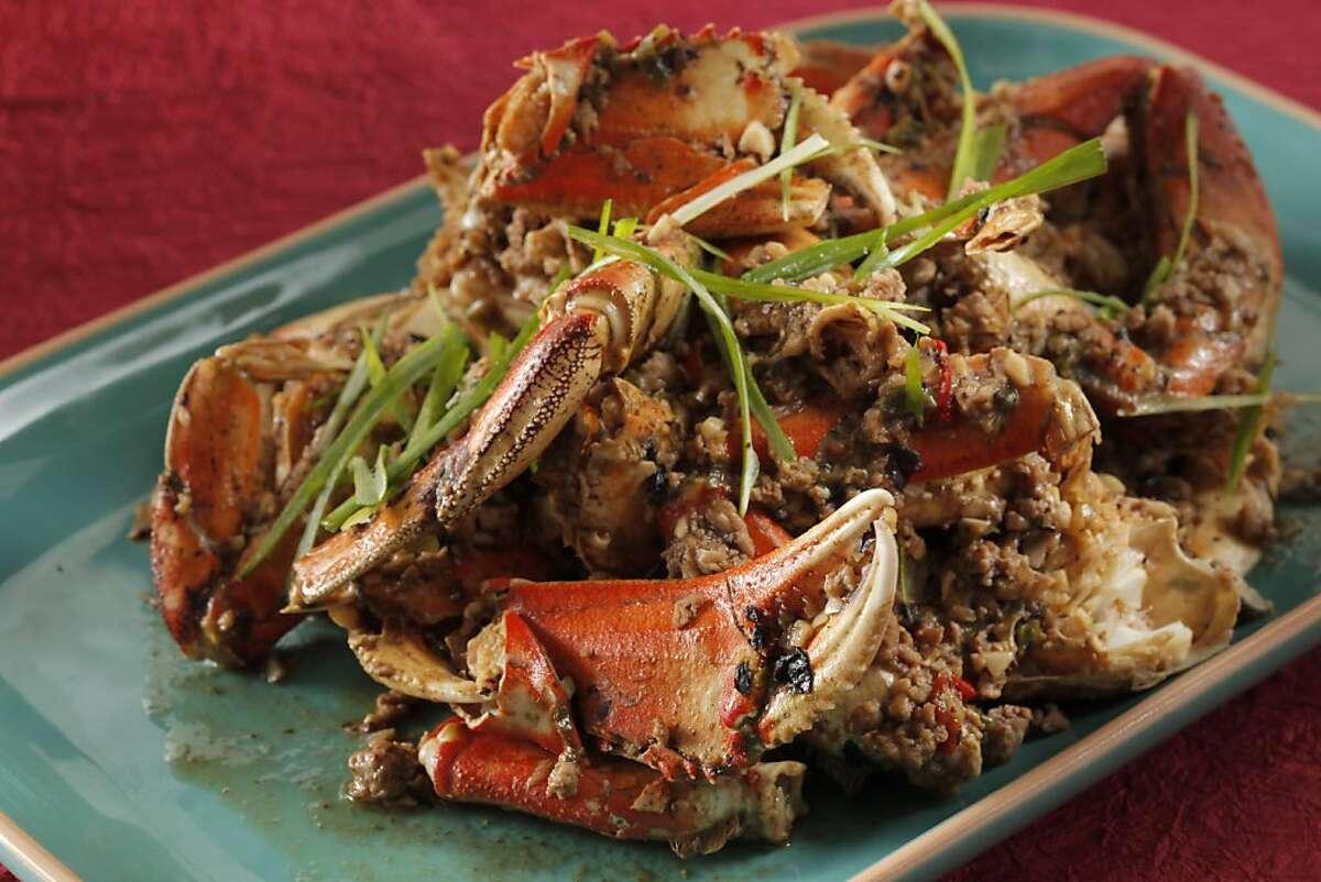 Stir fried dancing crab as seen in San Francisco, California, on November 1, 2011. Food styled Janny Hu.