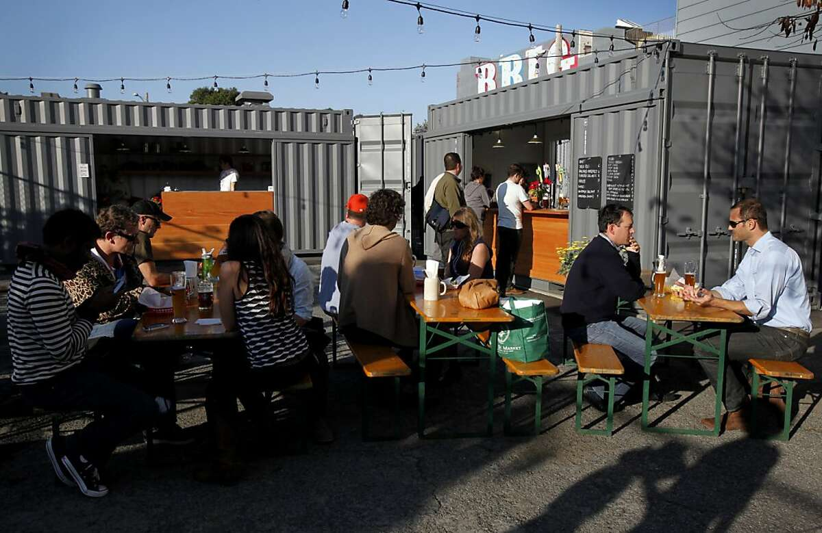The Proxy project is a set of shops in repurposed shipping containers, including Biergarten, which serves beer and traditional beer garden food, in Hayes Valley in San Francisco, Calif., Thursday, November 10, 2011.