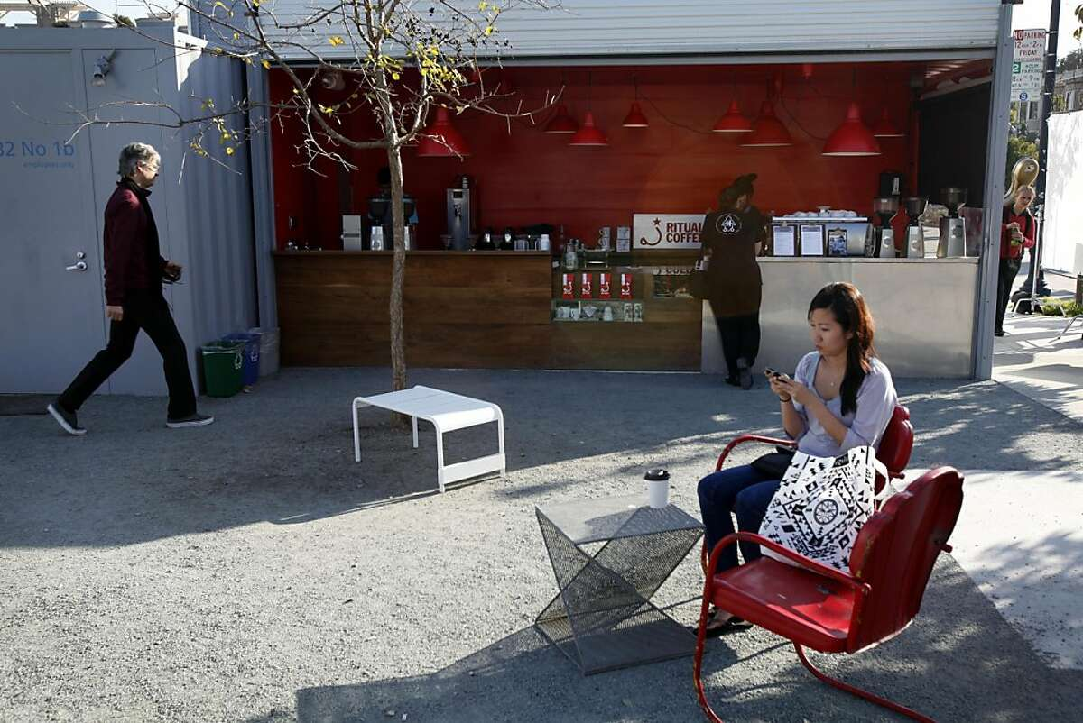 The Proxy project is a set of shipping containers repurposed to hold a coffee bar, ice cream store, and beer garden in Hayes Valley in San Francisco, Calif., Thursday, November 10, 2011.