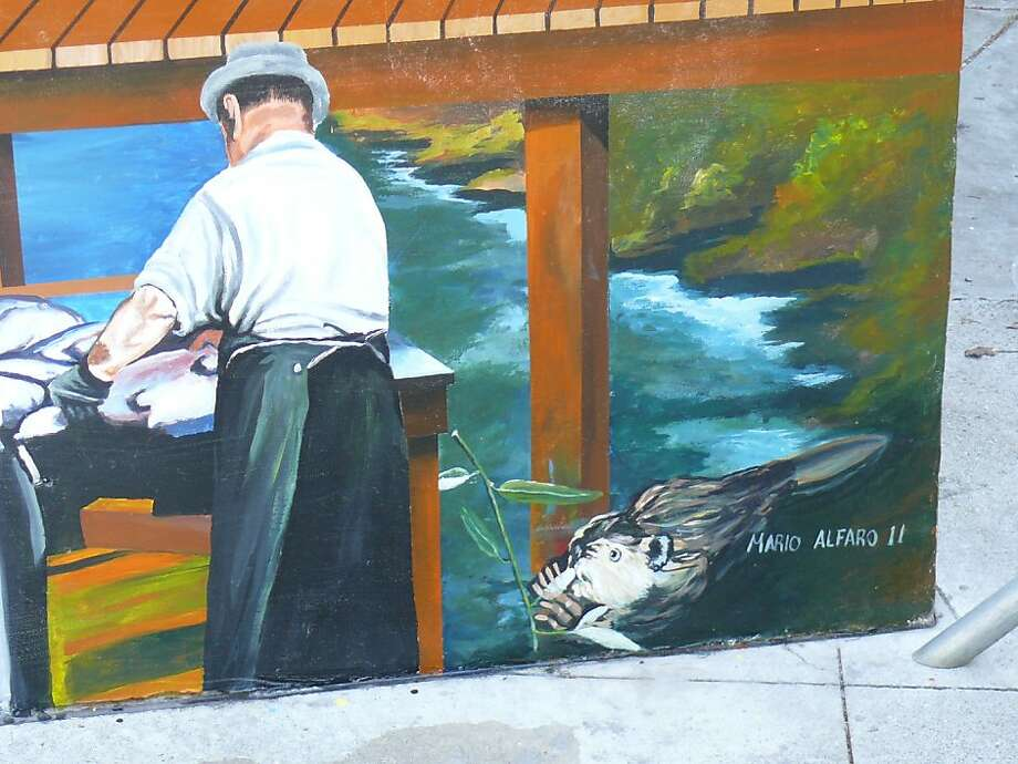 Martinez officials ordered artist Mario Alfaro to paint over the beaver in a mural depicting the history of Martinez. Photo: Heidi Perryman, Courtesy