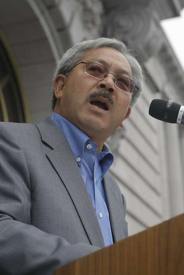"San Francisco Mayor Ed Lee speaks at the rally celebrating the 60th Anniversary of St. Anthony's, a non profit group that provides shelter, housing, and food to those less fortunate, in San Francisco, Calif., on Saturday, Sept. 24, 2011.  He officially named Saturday, September 24 ""St. Anthony's Day"" in San Francisco. Photo: Dylan Entelis, The Chronicle"