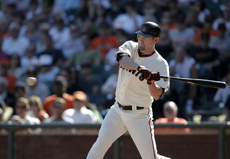 Giants Aubrey Huff singles in the 7th inning, as the San Francisco Giants played their final game of the season against the Colorado Rockies loosing 6-3, at AT&T Park, in San Francisco, Ca., Ca., on Wednesday September 28, 2011. Photo: Michael Macor, The Chronicle