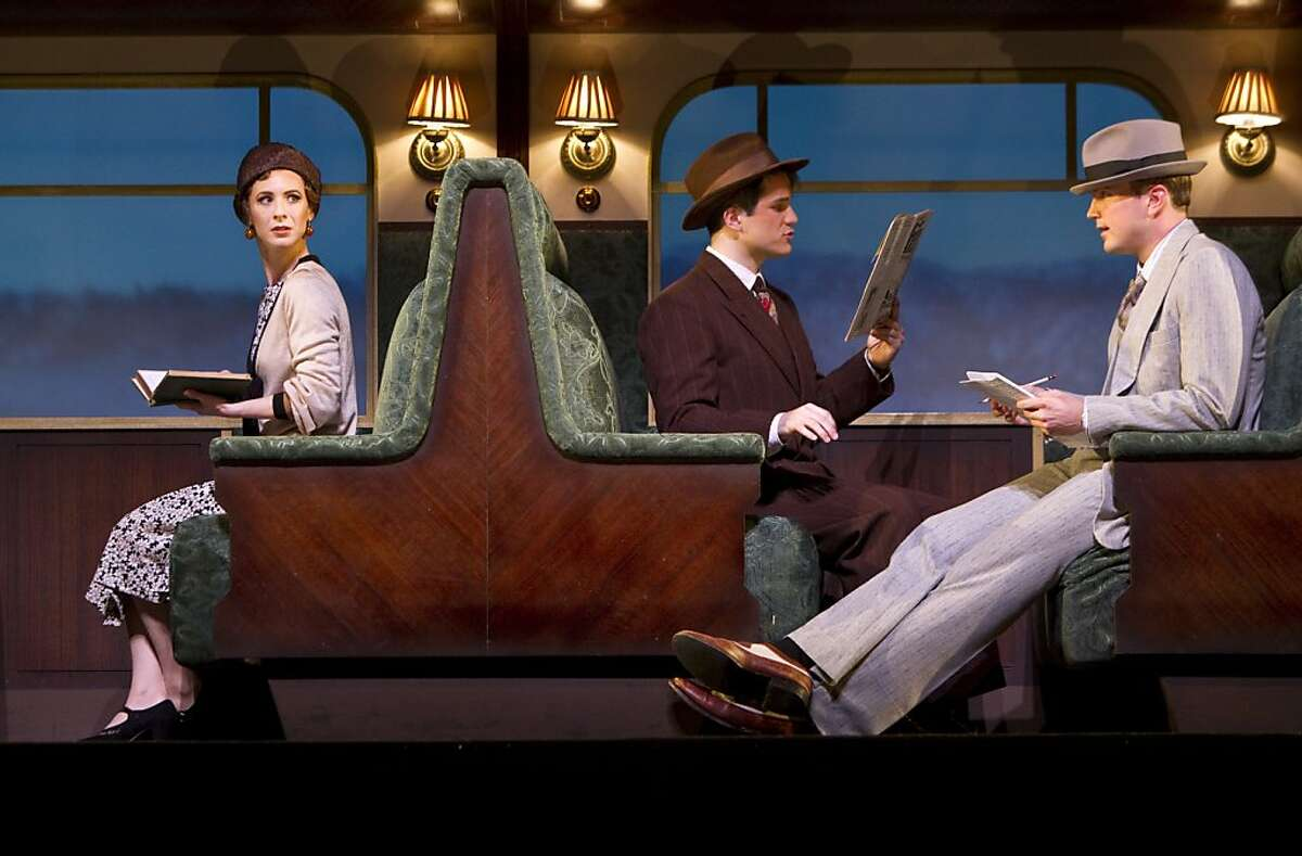 """Julia Coffey, Patrick Lane and John Wernke (left to right) play the characters May Daniels, George Lewis and Jerry Hyland during a dress rehearsal for American Conservatory Theater's season opener """"Once in a Lifetime"""" in San Francisco, Calif., on Wednesday, September 21, 2011."""