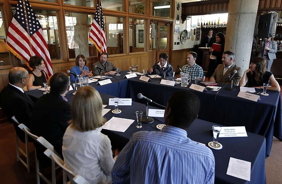 Democratic Leader Nancy Pelosi,(top left center) held a roundtable with local manufacturers, at the Anchor Steam Brewing Co., in San Francisco, Ca., on Thursday September 29, 2011, to discuss the House Democrats'