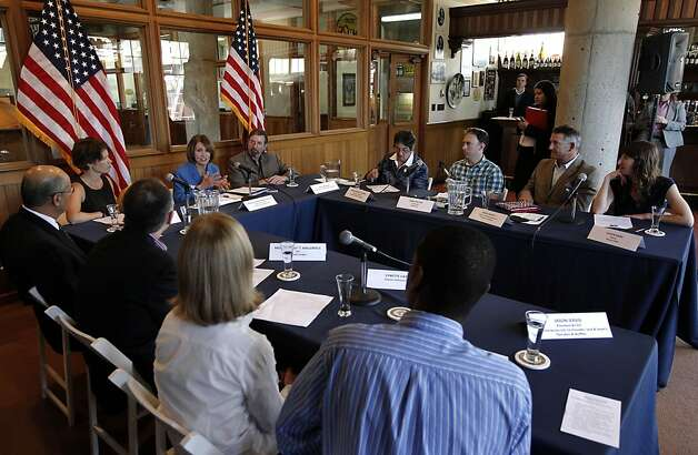 "Democratic Leader Nancy Pelosi,(top left center) held a roundtable with local manufacturers, at the Anchor Steam Brewing Co., in San Francisco, Ca., on Thursday September 29, 2011, to discuss the House Democrats' ""Make It In America"" initiative, President Obama's American Jobs Act, and how Congress can best help small businesses grow and hire. Photo: Michael Macor, The Chronicle"